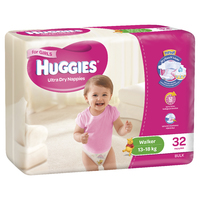 Huggies Ultra Dry Nappies Bulk - Walker Girl 13-18kg (32) image