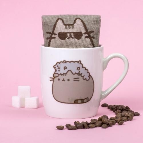 Pusheen the Cat Socks in a Mug - Stormy