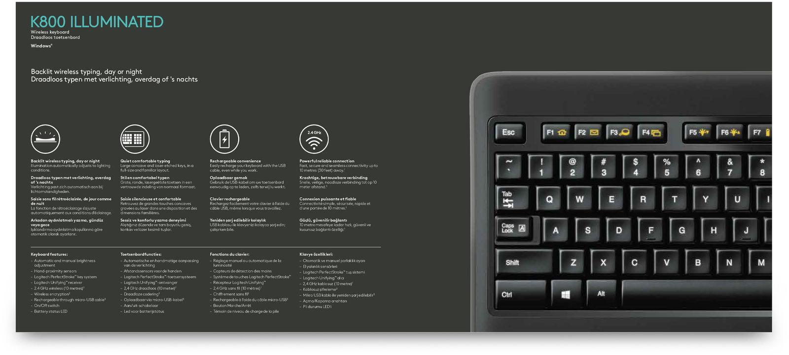Logitech K800 Wireless Illuminated Keyboard image