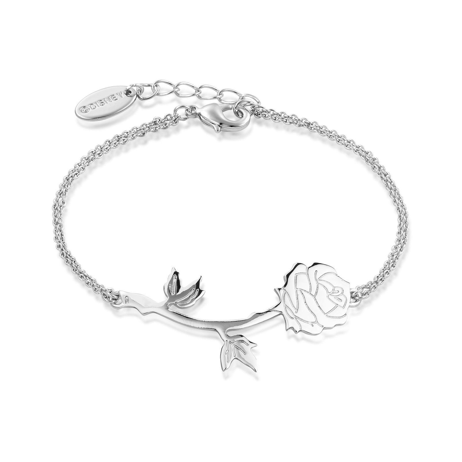 Disney Beauty & The Beast Rose Bracelet- White Gold image