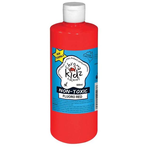 Chroma: Kidz Paint - FLuoro Red (500ml)