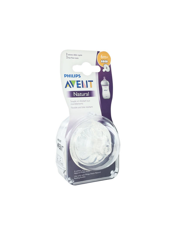 Avent Natural 2 Fast Flow Teats 6 Months +