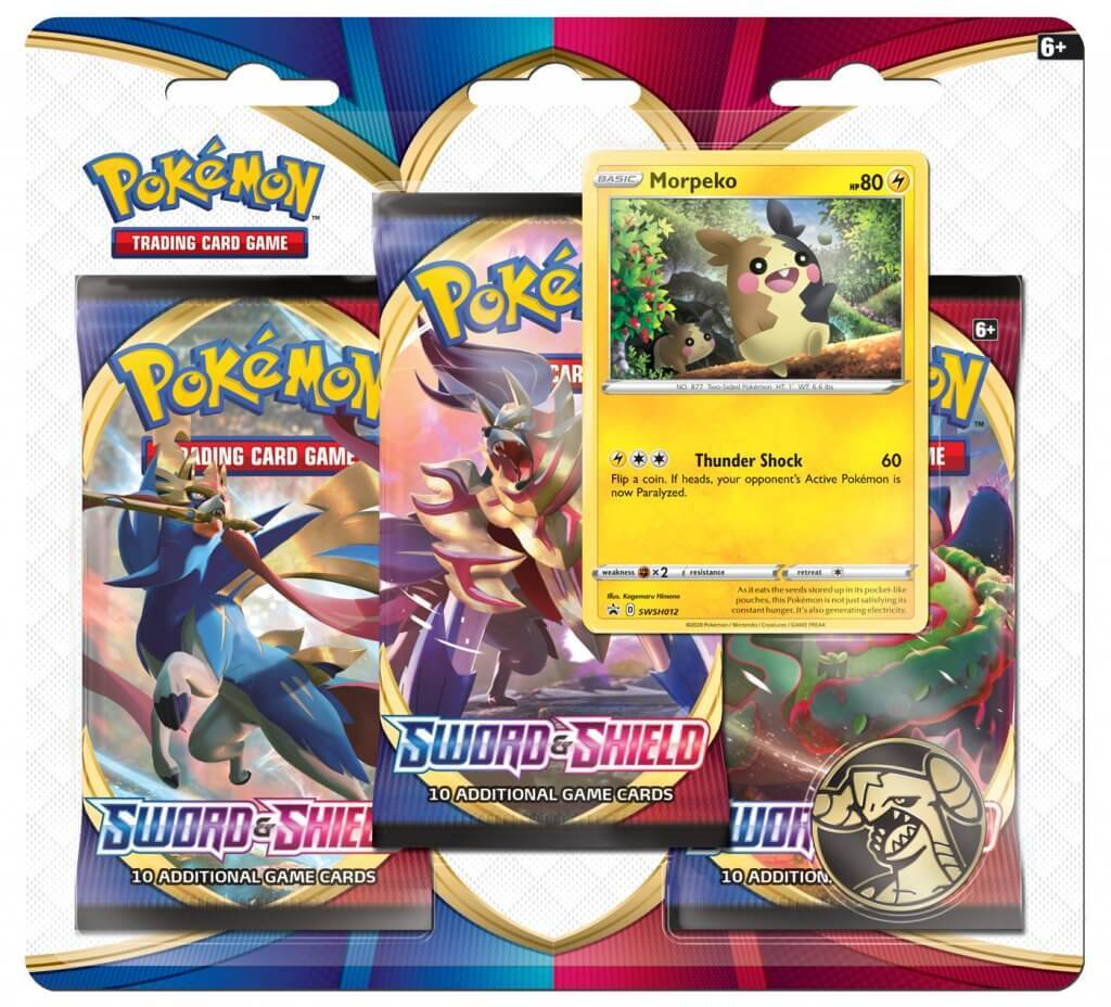 Pokemon TCG: Sword and Shield Three Booster Blister- Morepeko image