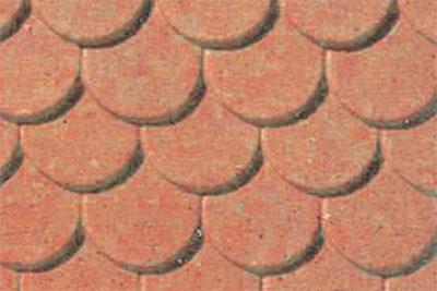 JTT Styrene Pattern Sheets Scalloped Edge Tile (2pk) - H0 Scale image