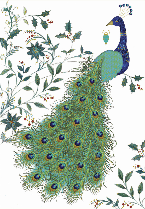 Premium Boxed Christmas Cards - Peacock Plume (8 Pack)