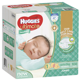 Huggies Ultimate Nappies: Jumbo Pack - Newborn Up to 5kg (108)