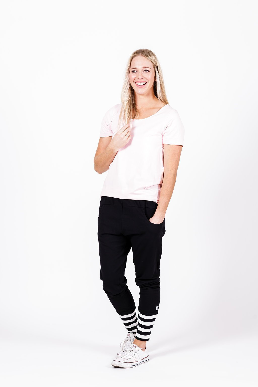 Home-Lee: Apartment Pants -Black With White X Spot Print And Stripe Cuffs - 6 image