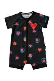 Bonds Zip Wondersuit Romper - Heart of Hearts Black (Newborn)