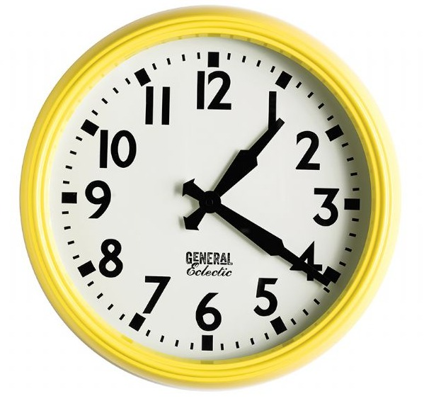 general eclectic retro school clock yellow at mighty