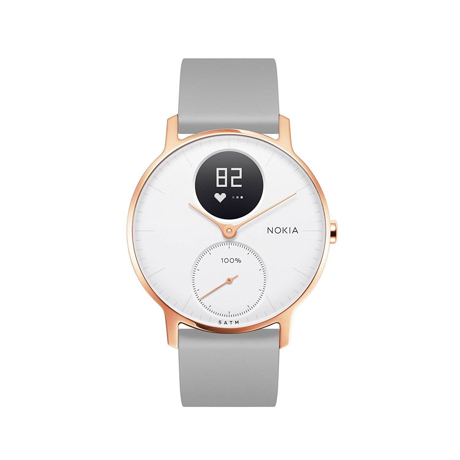 Nokia Steel HR Smart Watch - 36mm, Rose Gold/Grey Silicone image