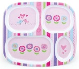 Bumkins: Melamine Divided Plate - Bloom
