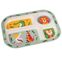 Rex Divided Melamine Tray (Colourful Creatures)