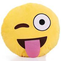 Tongue Out Emoji with Winking Eye Cushion - 34cm image