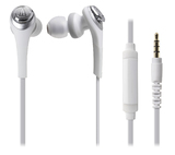 Audio-Technica Solid Bass In-Ear Headphones with Smartphone Control (White)