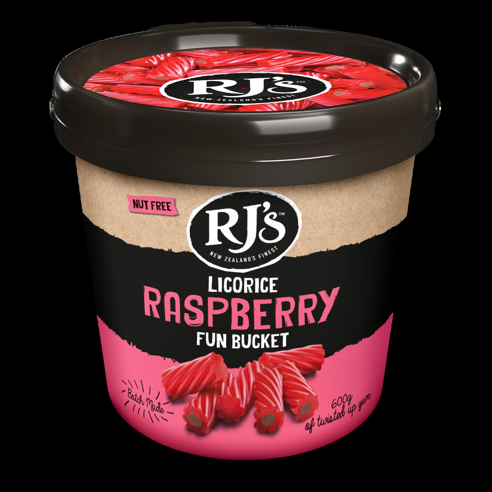 RJ's Licorice Raspberry Fun Bucket 600g 4pk image
