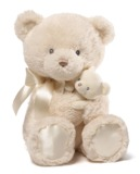 Gund: Mum & Baby Bear - Plush Rattle (Cream)