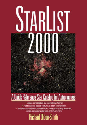StarList 2000: Quick Reference Star Catalog for Astronomers by Richard Dibbon-Smith image