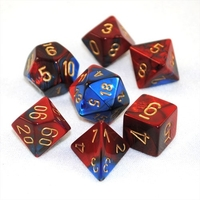 Chessex Gemini Polyhedral Dice Set Blue-Red/Gold