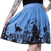 Sourpuss Haunted House Skirt Blue (Medium)