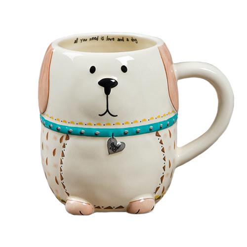 Natural Life: Ceramic Folk Mug - Love And A Dog
