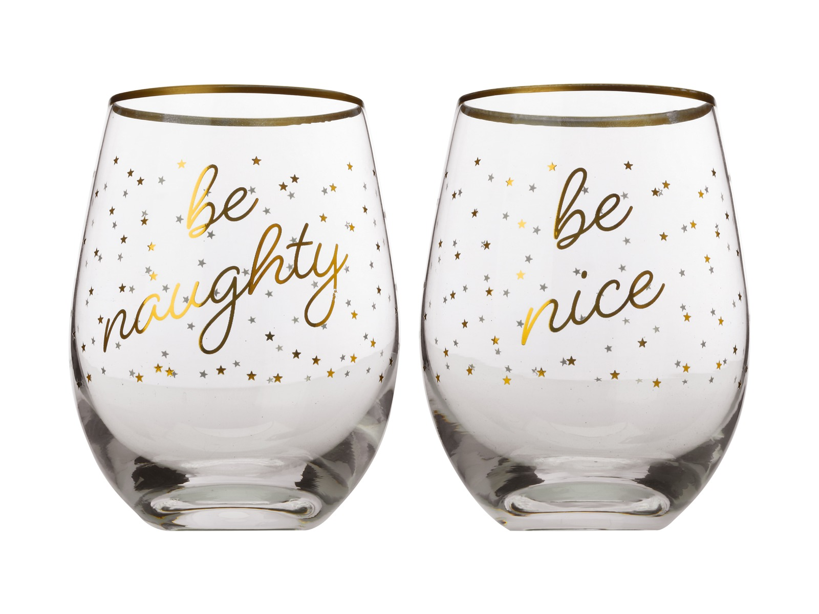 Maxwell & Williams Celebrations Stemless Glasses - Naughty / Nice image