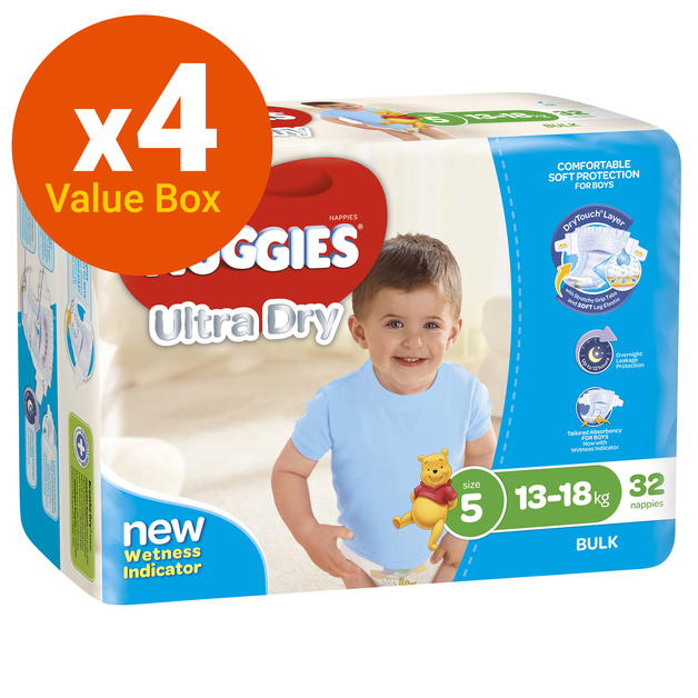 Huggies Ultra Dry Nappies Bulk Value Box - Size 5 Walker Boy (128)