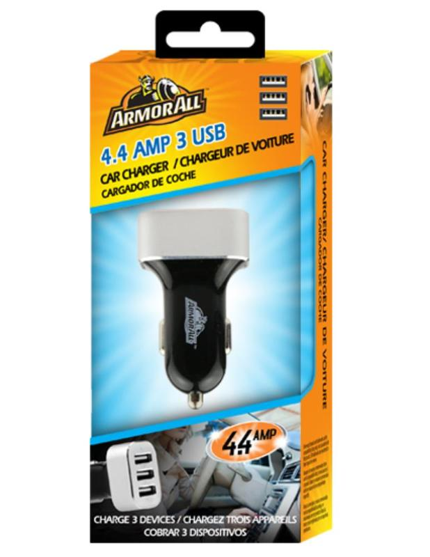 Armor All: 4.4Amp 3 Port Car Charger