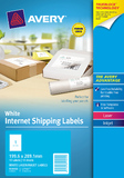 Avery White Internet Shipping Labels 199.6mm x 289.1mm Pkt10