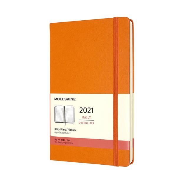 Moleskine: 2021 Diary Large Hard Cover 12 Month Daily - Cadmium Orange