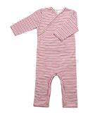 Babu Merino All-in-one - Pink Heather Stripe (3-6 Months)