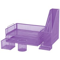 FM 6 Piece Mesh Desk Set - Purple