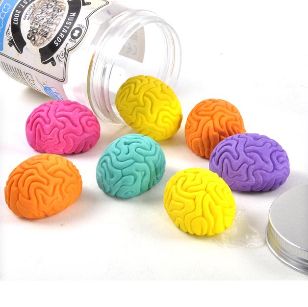 Mustard Brain Erasers (Set of 7)
