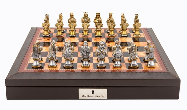 "Dal Rossi: Resin Medieval Warriors - 18"" Chess Set (PU Brown)"