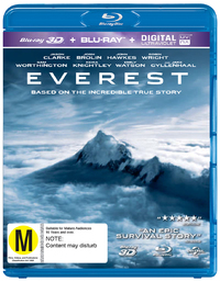 Everest on Blu-ray, 3D Blu-ray, UV