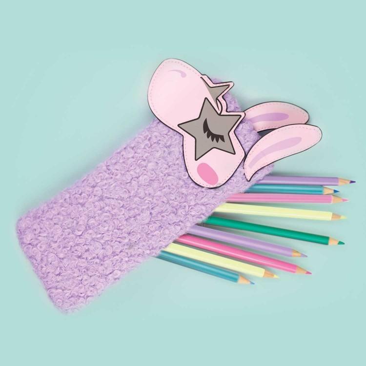 NPW: Famalam Furry Llama Pencil Case with Pom Pom Zipper image