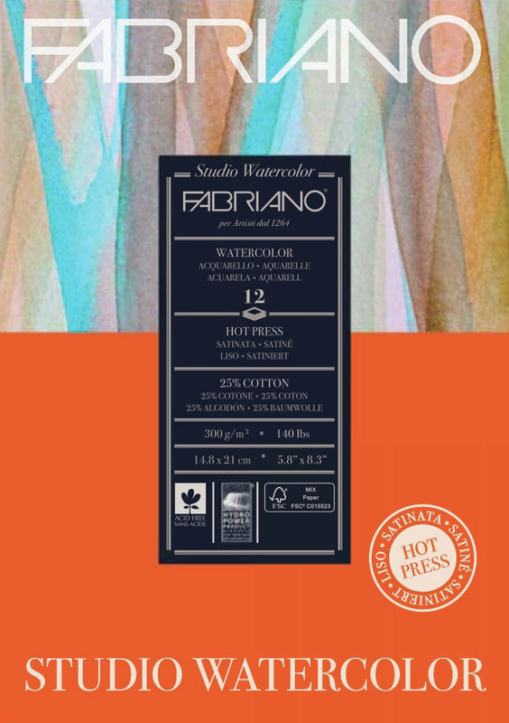 Fabriano: Studio Watercolour Pad 300gsm A5 Hot Pressed - 12 Sheets