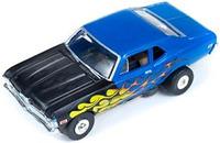 Auto World ThunderJet Ultra-G R8 '69 Chevy Nova SS Slot Car - Blue with Flames