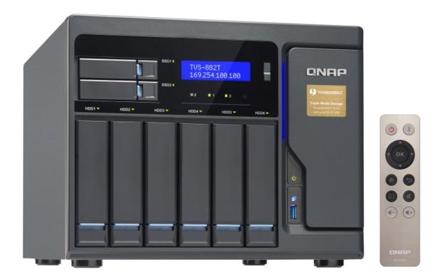 QNAP TVS-882T-I5-16G NAS,6+2+2XM.2 SLOT(DISKLESS),16GB,I5-6500,T-BOLT,GbE(4), 10GbE,TWR,2Y