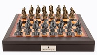 "Dal Rossi: Mystical Dragons - 18"" Pewter Chess Set (PU Brown)"