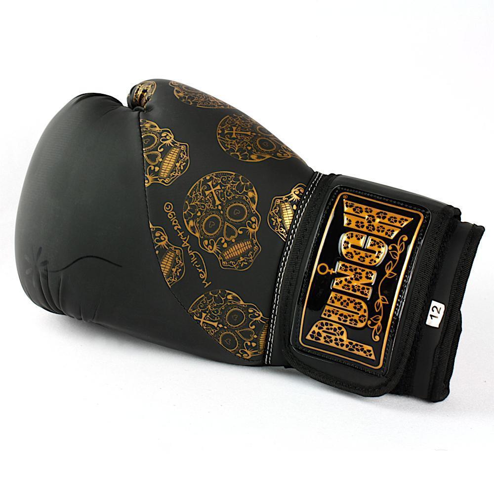 Punch Urban Boxing Gloves 12oz - Black & Gold Skulls image