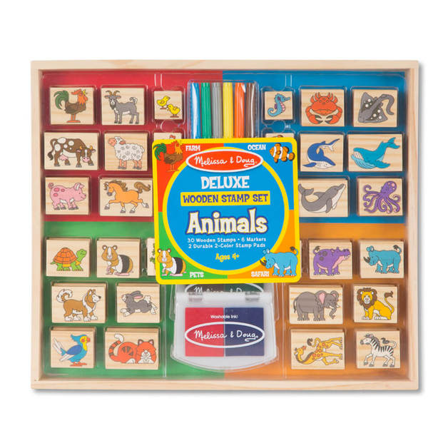 Melissa & Doug: Deluxe Wooden Animals Stamp Set