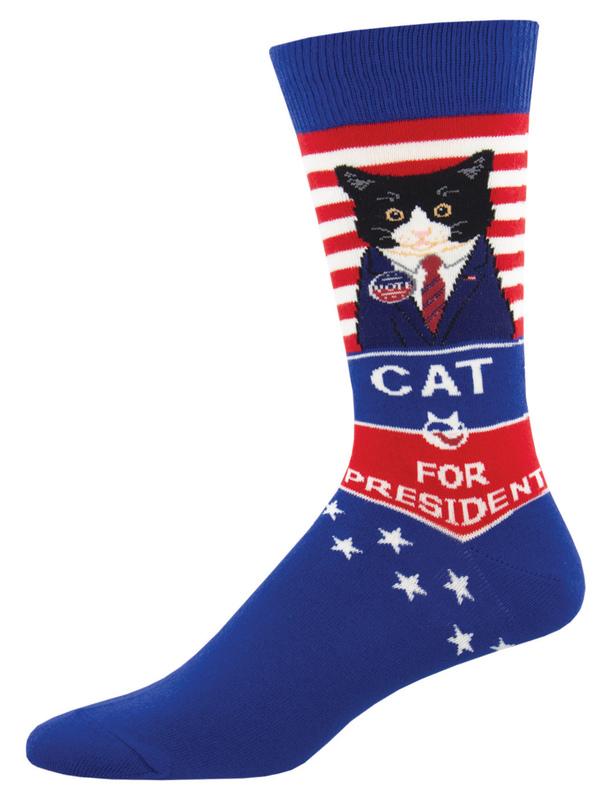Socksmith: Mens Cat For President - Blue
