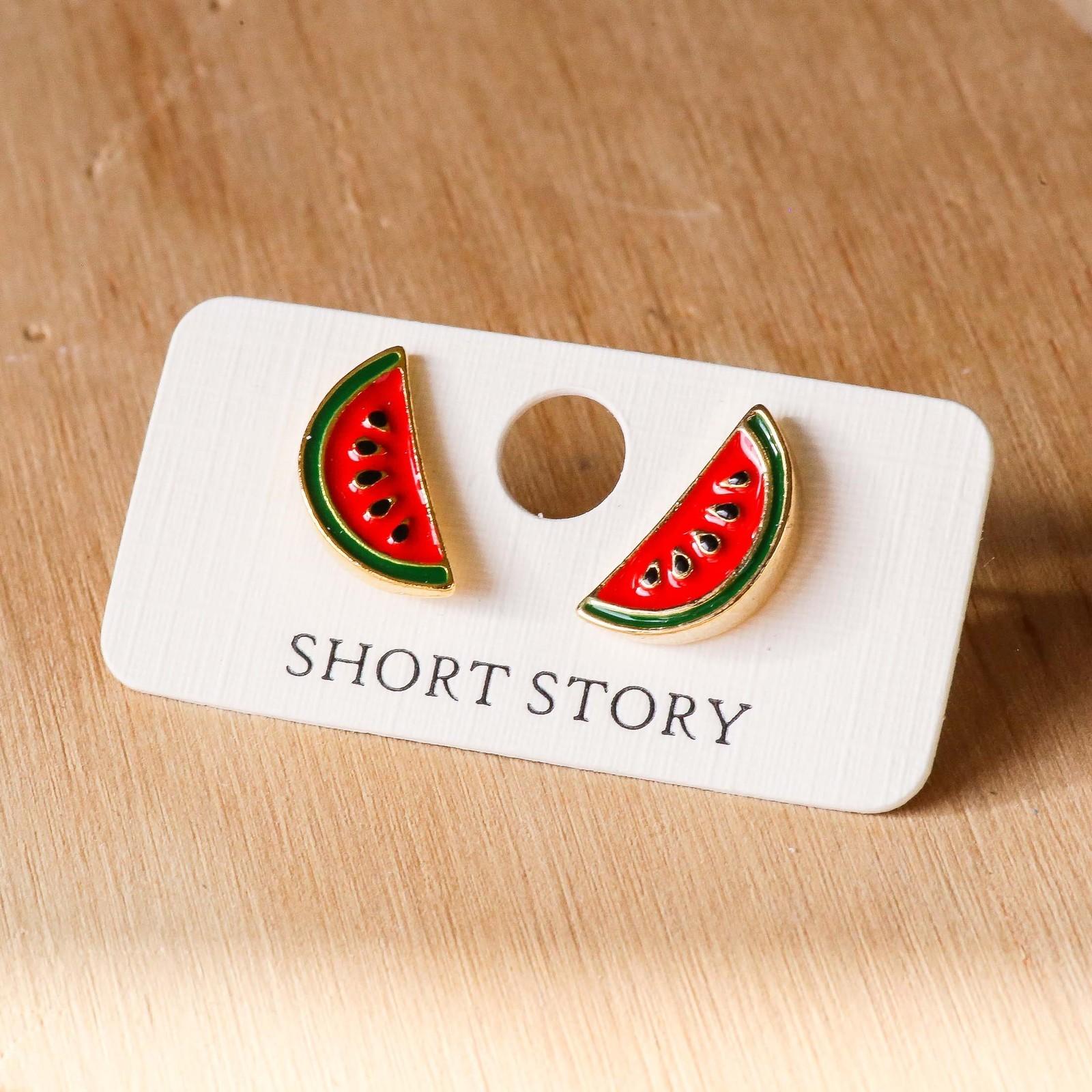 Short Story: Funky Play Earrings - Watermelon image