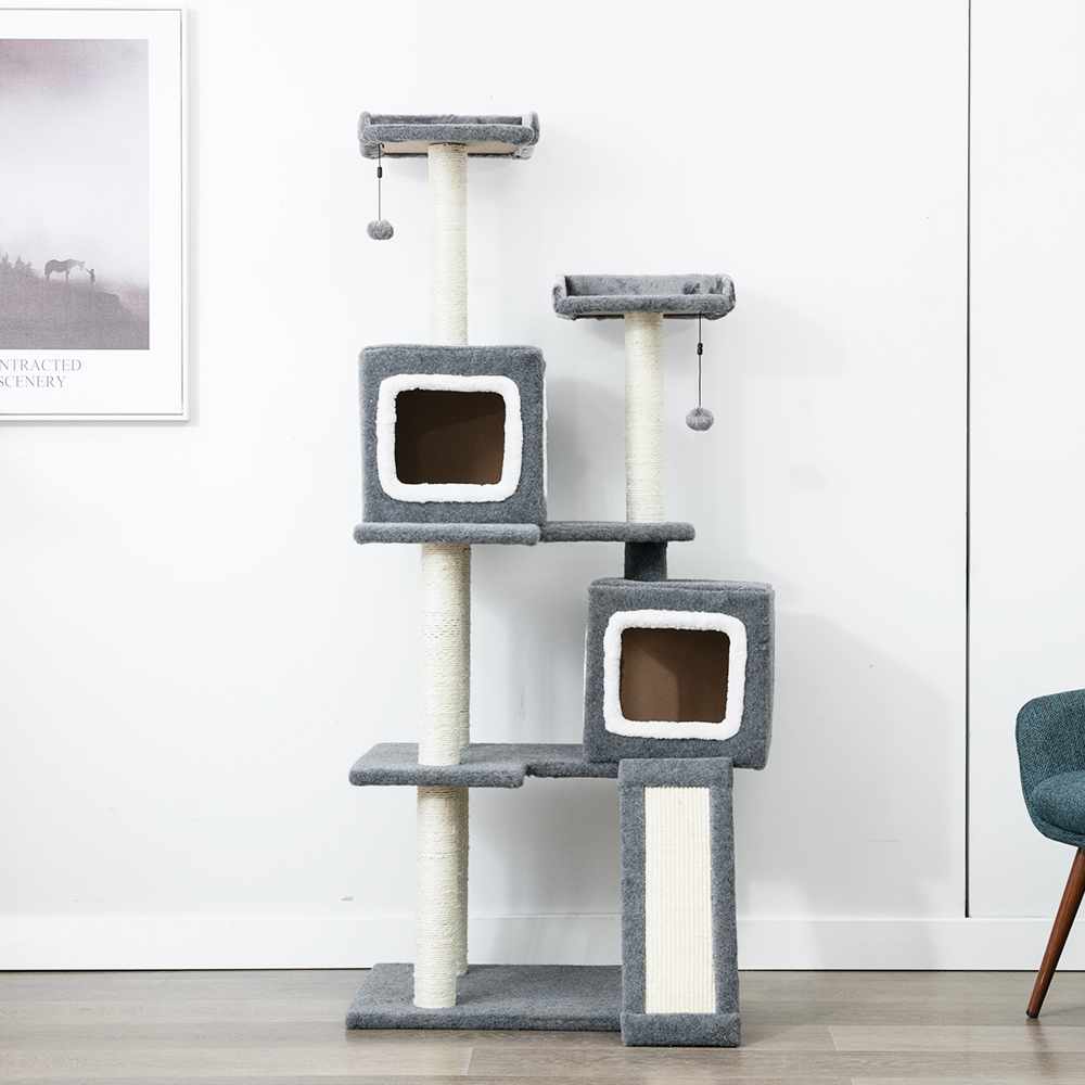 Gorilla: Cat Tree Kingdom (8 Levels) 1.65M With 2 Snuggle Cubes - Charcoal / White image