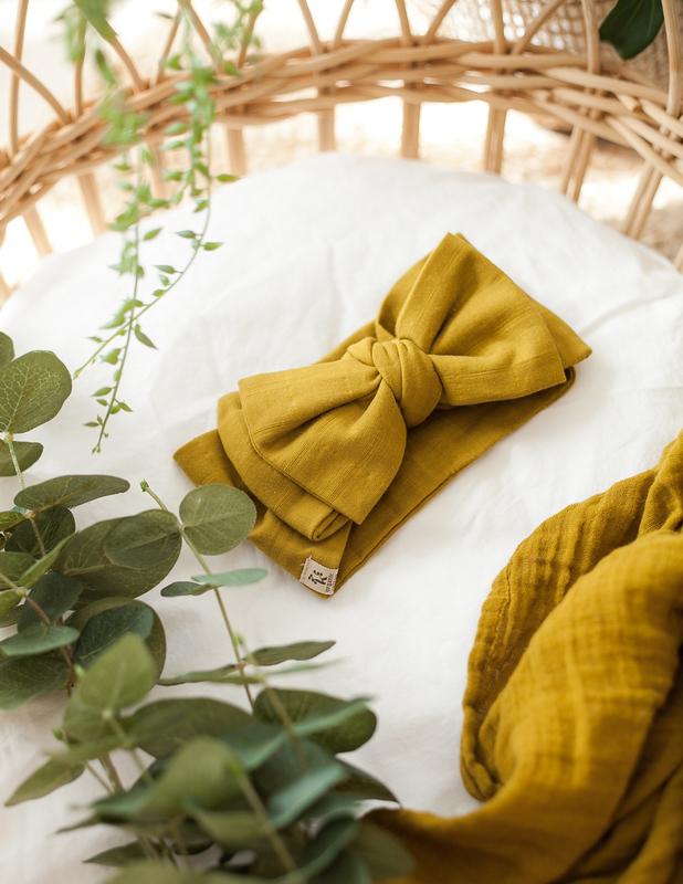 Karibou Kids: Organic Baby Bow Headwrap - Golden Olive