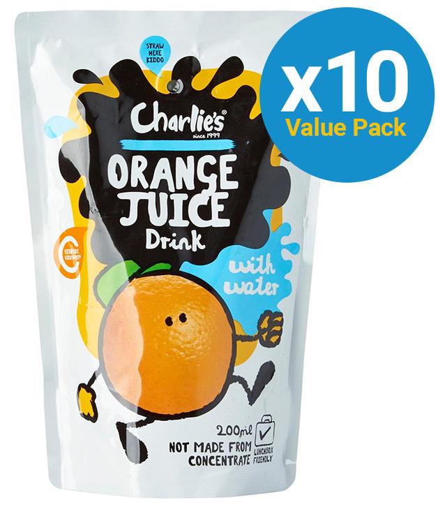 Charlie's Kid's Juices Orange 200ml (10 Pack)