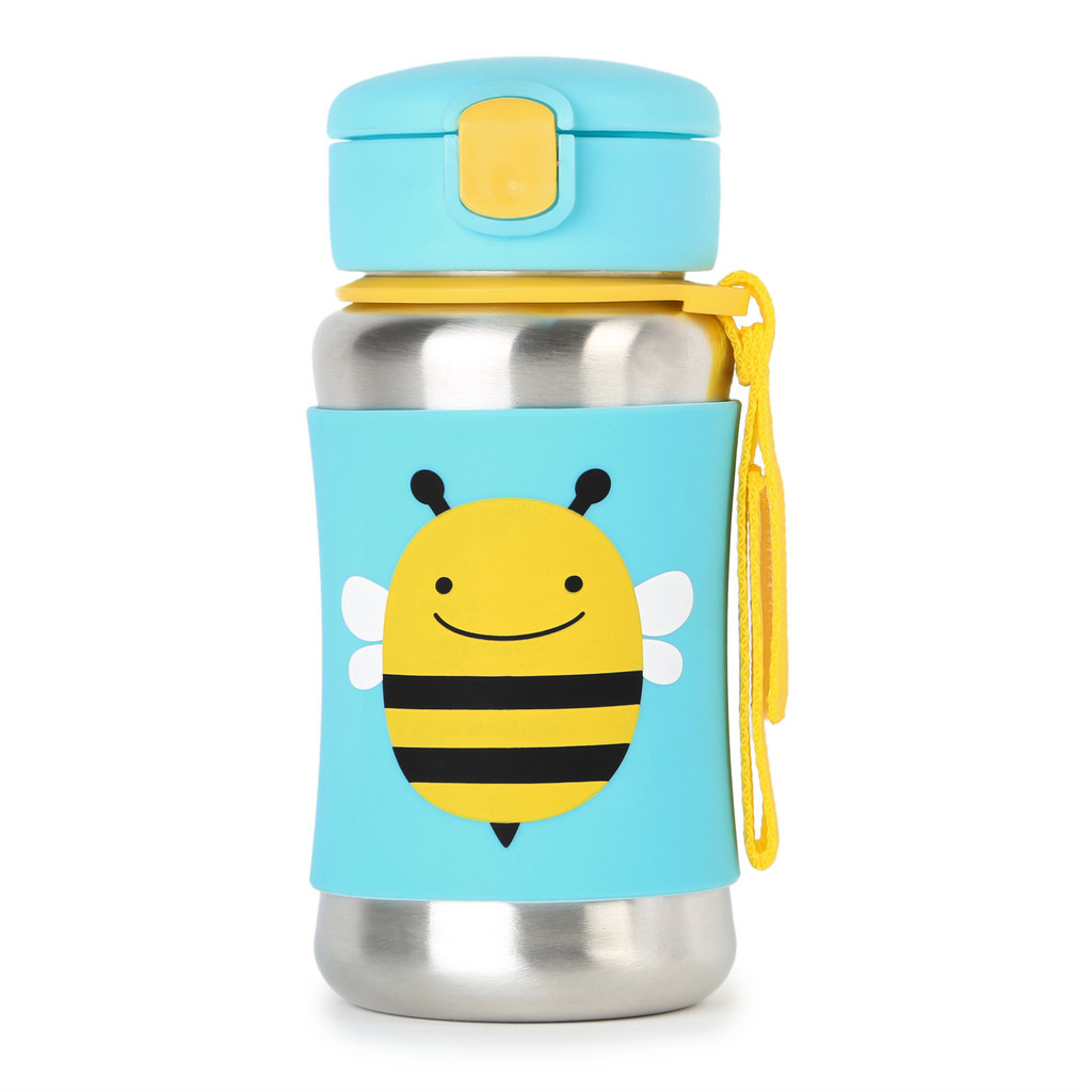 Skip Hop: Zoo Stainless Steel Straw Bottle - Bee image