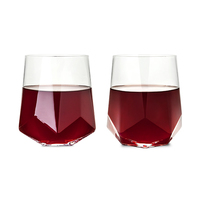 Viski: Raye - Faceted Crystal Wine Glasses (Set of 2)
