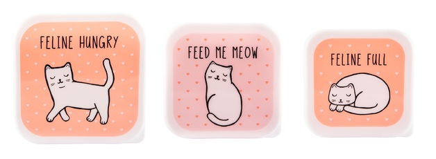 Sass & Belle: Cutie Cat Lunch Boxes - (Set Of 3)