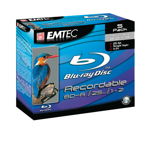 Emtec Blu-ray BD-R (6x) Jewel Case - 5 Pack image